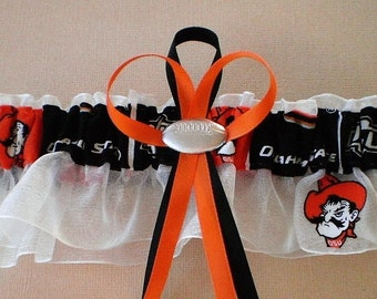Oklahoma State University Fabric Wedding Garter Keepsake Double Heart Charm Sport
