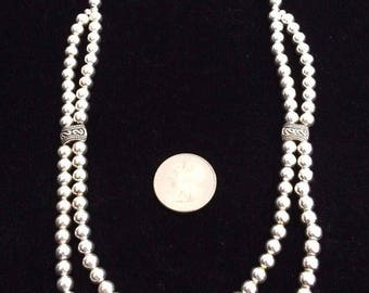 """Handcrafted Southwest Silver Bead Necklace - with dual strand look, 19"""" length, excellent quality and craftsmanship"""