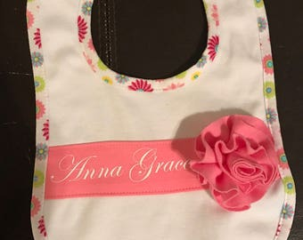 Monogrammed bib, baby girl monogram bib, girls bib, cute bib, custom bib, personalized bib, baby girl bib, baby bib