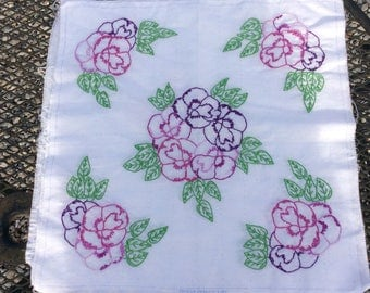 Hand embroidered pillow panel