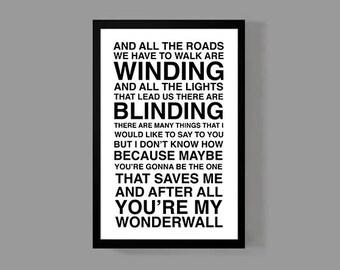 Custom Lyrics Poster • OASIS Print • Music Quote Wonderwall • First Dance or Favorite Song Personalized Lyrics • Oasis Wonderwall