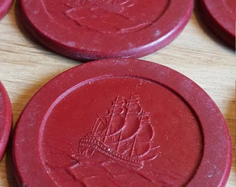 Poker Chip Sailing Ship (red) (18) - PRICE INCLUDES SHIPPING