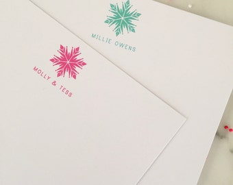 Snowflake Frozen Stationery - Girls Frozen Personalized Stationary Flat Thank You Note Cards - Set of 20
