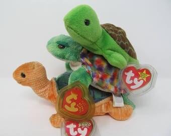 Ty Beanie Baby Turtle Lot - Peekaboo, Speedy and Zoom