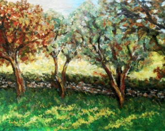 Landscape Trees Painting,  Acrylic on Paper, Large Painting on Paper, Wall Decor, Nature