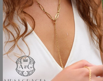 Y Necklace - Gold - light chain - delicate - crystal beads - reinvented vintage chain - modern - simple