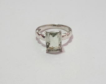 Natural Green Amethyst Faceted Gemstone ( Rectangle 10 x 8 mm ) in handmade Solid 925 Silver Ring ANY SIZE AVAILABLE