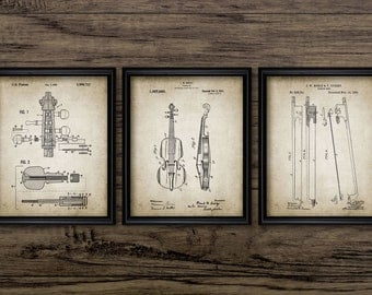 Violin Patent Print Set Of 3 - Violin Design - Orchestra - Stringed Instrument - Classical Music - Violinist #2270 - INSTANT DOWNLOAD