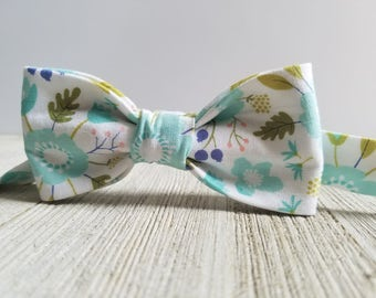 Adjustable Bowtie;Teal;Floral;Wedding Accessories;Tie;Menswear;Boy's Neckties;Ring bearer;Groomsmen; Easter;Baby;Spring; Accessories; Bow