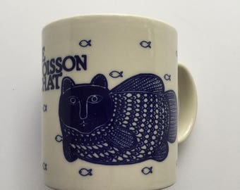 Vintage HTF Le Poisson Chat Cat and Fish Taylor and Ng Mug Japan 1979