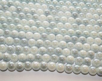 Grayest White Glass Beads, Round Beads, Glossy Round Beads - 8mm - 42ct - D179