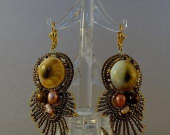 Shiva Eye//Bead Embroidery Earrings//Shell//Pearl//Bronze//Fringe//Free Shipping