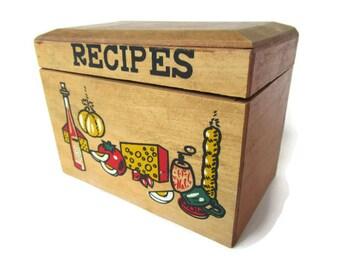 Recipe Box; Recipe File, Index Card Box, Index Card File, Vintage Recipe Box, Wood Recipe Box
