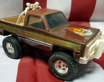Vintage Toy Truck - The Fall Guy GMC Pickup By Ertel. Metal Toy Truck-Brown and Gold - 1980's From the Hit Cable TV show, The Fall Guy!