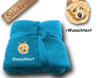Fluffy blanket embroidered with Norwich Terrier + Own Words