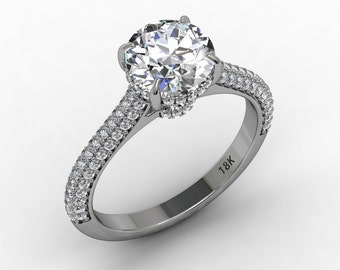 Forever Brilliant Moissanite Engagement Ring 7.5mm Round Forever Brilliant Moissanite .47ct Natural Diamonds Pristine Custom Rings