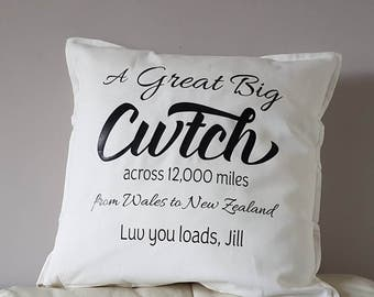 Free Shipping, Cwtch cushion cover, Personalised Cushion cover, cwtch, valentine's gift, great big hug cushion,hug across the miles cushion