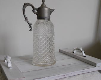 Vintage Crystal and Silver Decanter/Pitcher