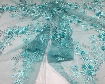 Aqua metallic 3D magical flowers wmbroider with rhinestones on a mesh lace -yard