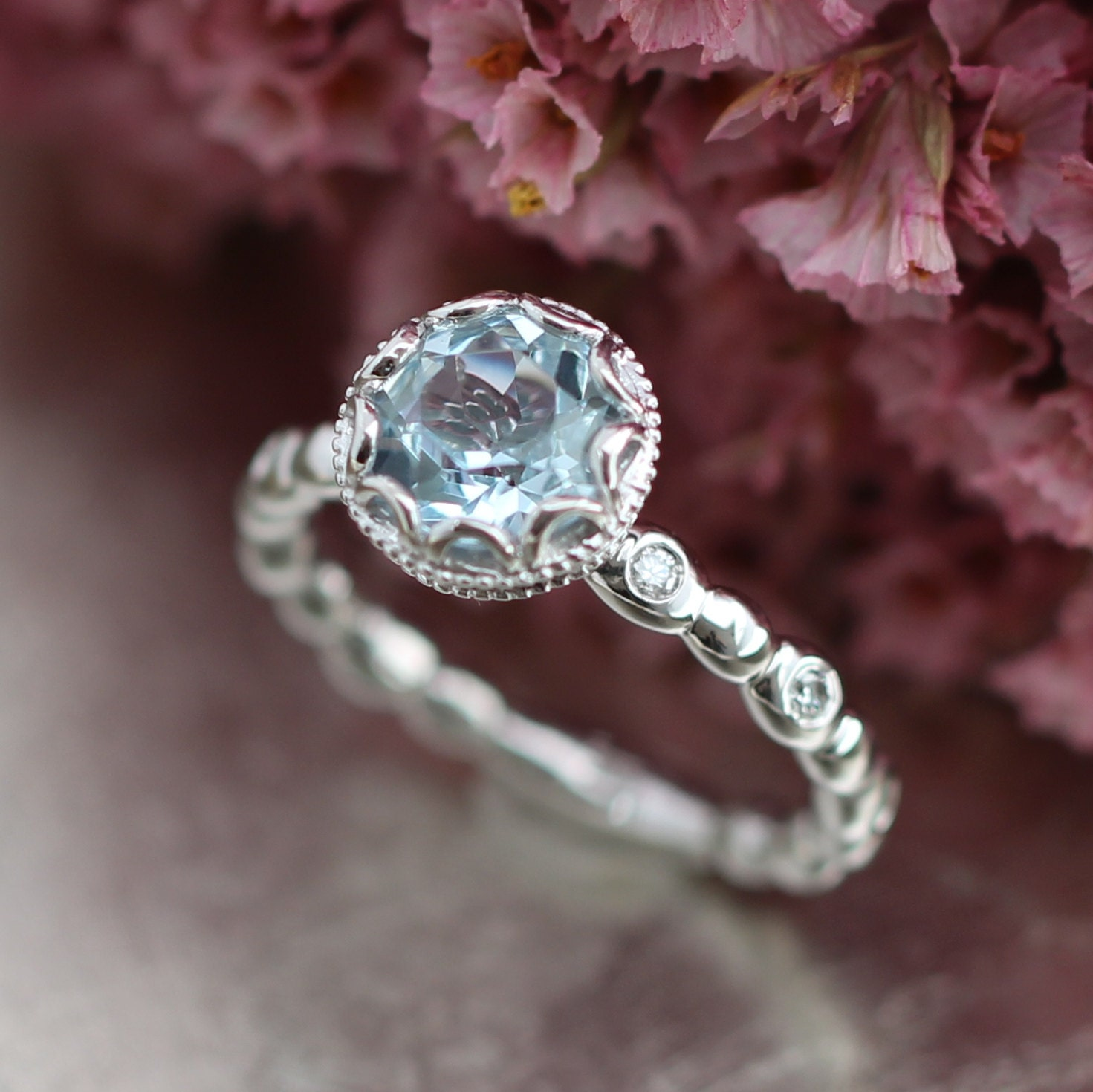 floral aquamarine engagement ring in 14k white gold diamond. Black Bedroom Furniture Sets. Home Design Ideas