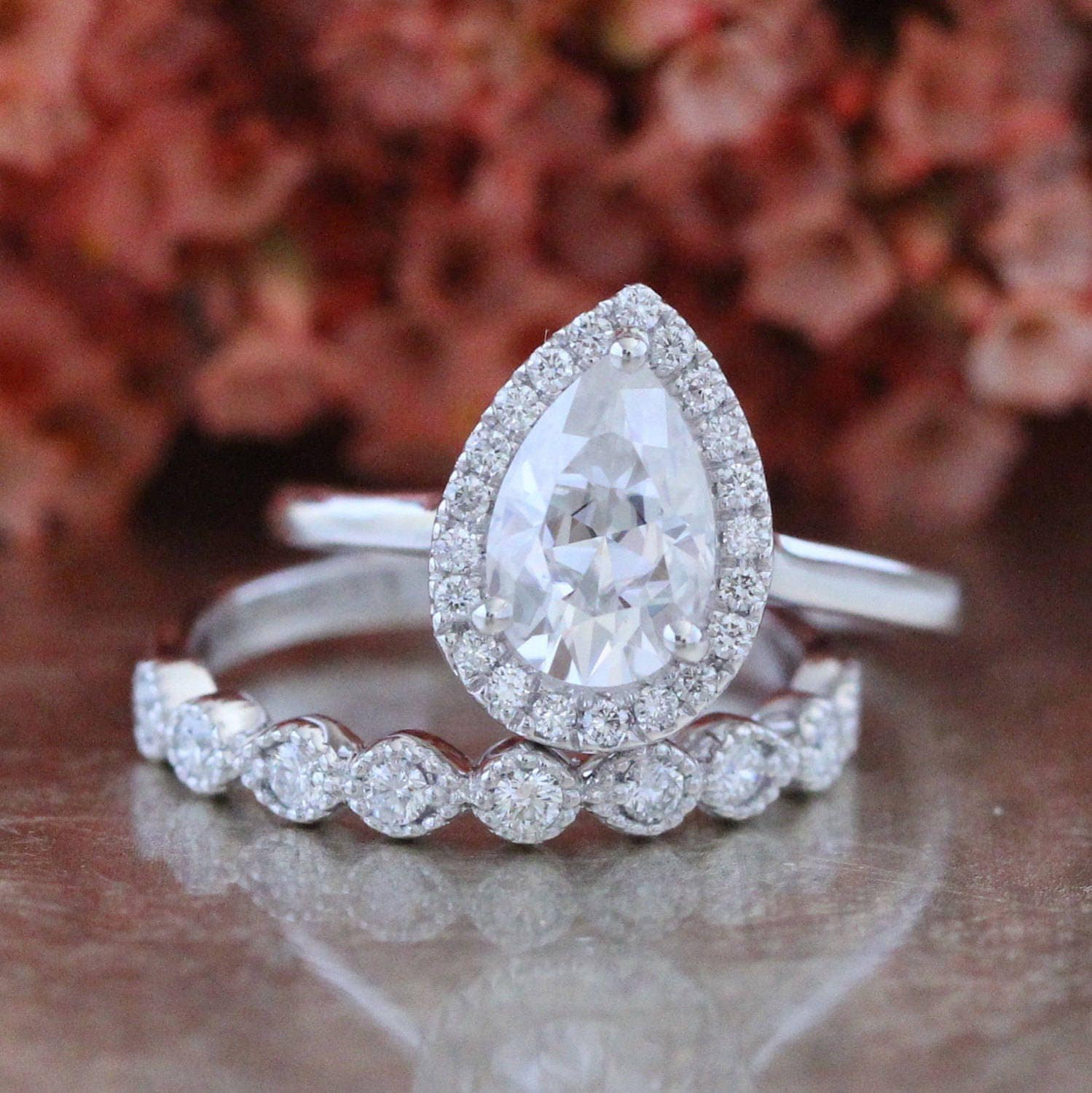 Pear Moissanite Engagement Ring and Milgrain Diamond Wedding