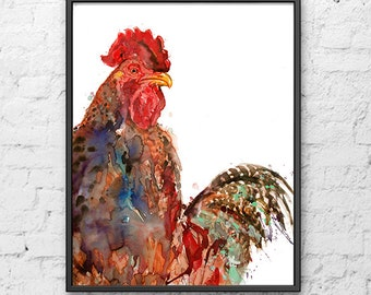 Watercolor Rooster Print, Rooster Art, Watercolor print, watercolor art, watercolos  animal art, country art, kitchen print - R17