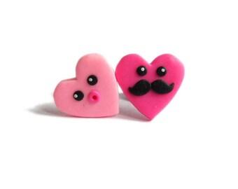 Hearts Heart Earrings, Pink Earrings, Moustache Earrings Jewelry, Couple Funny Earrings, Fimo Polymer Clay Earrings, Polymer Clay Jewelry