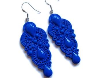 Blue Earrings, Royal Blue Earrings, Dangle Earrings, Big Earrings, Chandelier Earrings, Wedding Party Earrings, Bridesmaids Jewelry Earrings