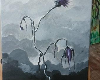 Acrylic painting/wall art/ thistel/dark/gothic art