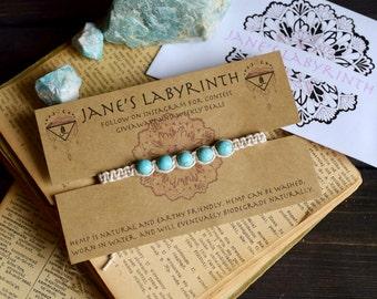 Turquoise Hemp Bracelet. Anklet. Gemstone Bracelet. Hippie. Boho Jewelry.