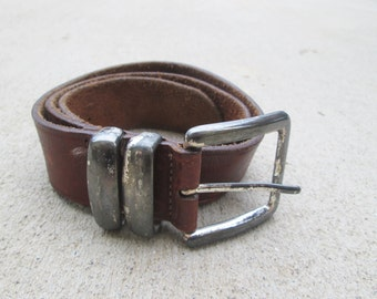 Vintage Brown Leather Oxidized Silver Buckle Belt 90s Grunge Gap Small