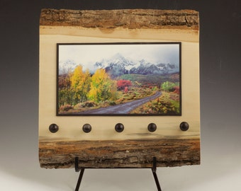 Colorado Mountain Photography Key Rack - Cabin Collection on Bark Wood