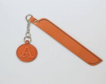 A Leather Alphabet Charm Bookmark/Bookmarks/Bookmarker *VANCA* Made in Japan #61372 Free Shipping