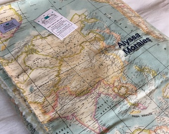 World Map Blanket, personalized blanket, customized name blanket, blanket with name in embroidered letters, throw blanket, gift travelers.