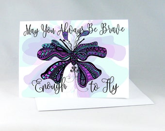 Butterfly Watercolor Card, Positive Vibes, Nursery Decor, Encouragement Card, Insect Card, Inspirational Card, Child Motivation Card 1130A