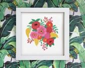 9 x 9in Flower Garland Art Print | flower wall art | flower illustration | botanical art print | gift for her | decorative floral print