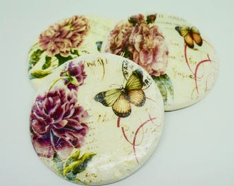 "Melamine; Faux Stone; Distressed-Look; Cork Backed; Coasters; Set of Three; Approx. 4"" Round; Botanical Inspired !!!"