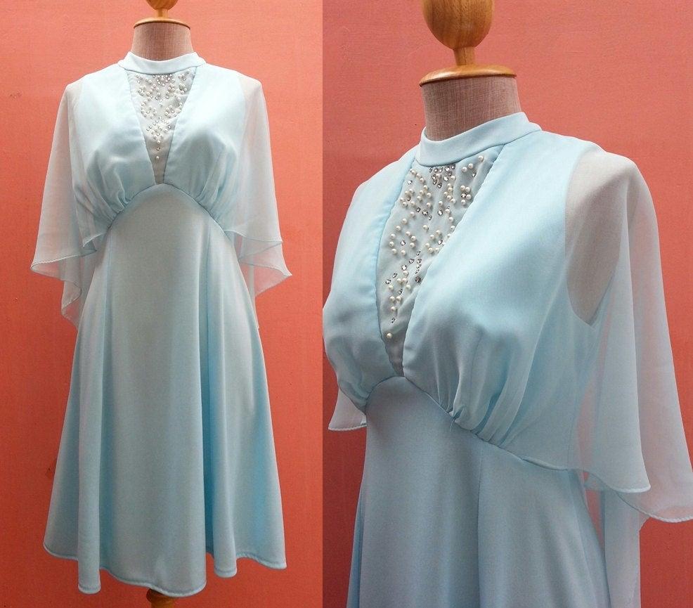 Blue Dress 1970s Evening Gown Women Party Dress Disco Dress