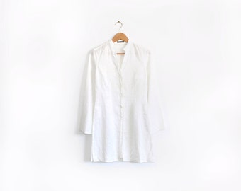 Linen / ramie minimal white shirt dress / tunic with flared sleeves and splits