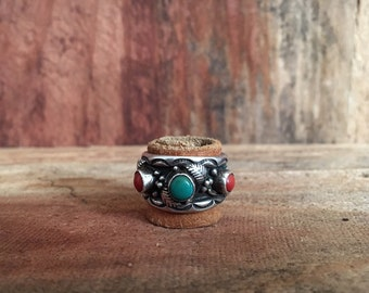 Vintage Sterling Silver Coral and Turquoise Band Ring / 6 / Boho Jewelry