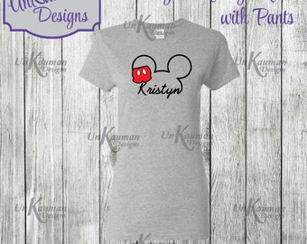 Disney Inspired Personalized Mickey Mouse w/Pants Design Adult T-Shirts