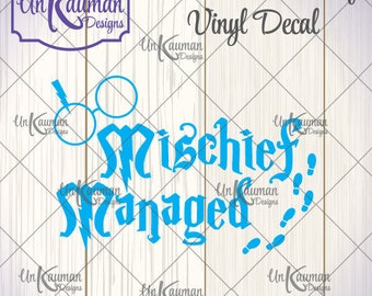 DIY...Iron On Heat Transfer Vinyl Harry Potter Inspired Mischief Managed w/Glasses Decal MMGF