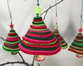 Felt Holiday Tree Ornament - 1 count - Handmade Christmas  - Green, Red, Pink