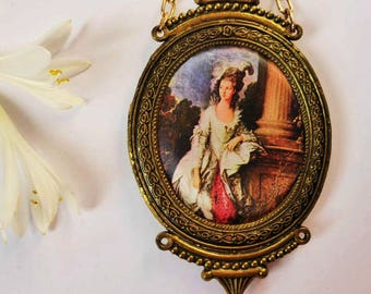 Cute Miniature Fabric Picture with Brass Frame, Antique Style Wall Hanging, Vintage Wall Decor, French Romantic, Cottage Chic, Gift Idea