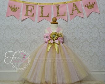 Princess Birthday Outfit, Pink and Gold Birthday Outfit, Girl Birthday Outfit, Girls Birthday Dress, Pink and Gold Dress, 6-18 Months