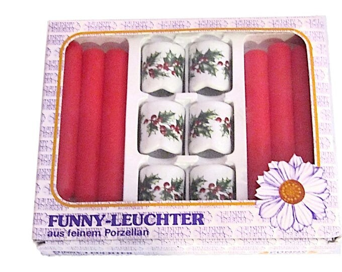 Vintage Funny Leuchter Porcelain Red & White Floral Candle Set | Made in West Germany | New Old Stock (NOS)