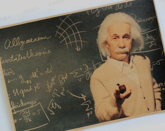 Einstein quote inspired Quality Kraft Paper Poster Vintage Decoration Imagination is more important than knowledge Color