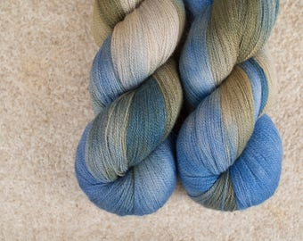 Hand Dyed 80/20 Extra Fine Merino/Silk Lace Weight Yarn - 2ply - 100 grams - 1200m/1312yards - Neptune