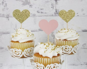 12 Pink and Gold Glitter Heart Cupcake Toppers - Pink Cupcake Toppers - Pink and Gold Baby Shower Decorations