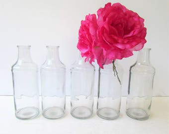 Vintage Clear Glass Bottles - Simple Clean Lines - 5 Bottles - Bottle Vases -